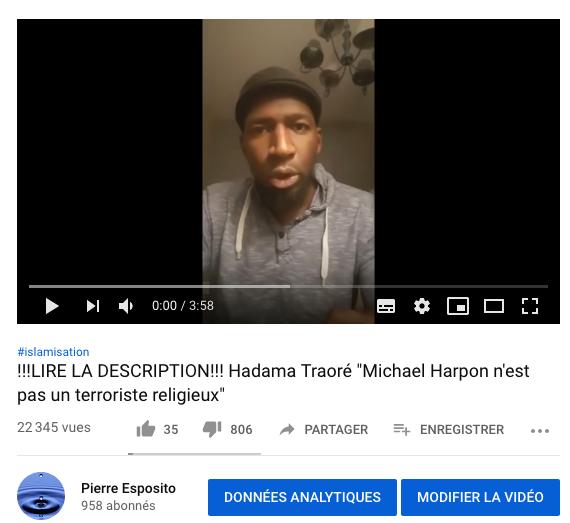 Vidéo de H. Traoré publiée sur mon compte youtube